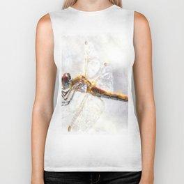 Platinum White Dragonfly Watercolor Biker Tank