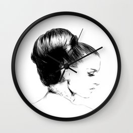 Woman Portrait Fashion Minimal Drawing Wall Clock