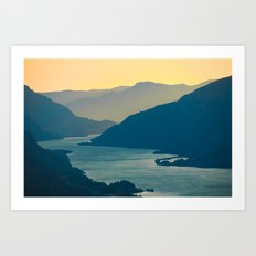 Columbia River Gorge at Sunset, from Courtney Ridge Art Print
