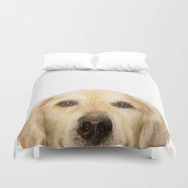 Golden retriever Dog illustration original painting print Duvet Cover