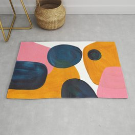 Mid Century Modern Abstract Minimalist Retro Vintage Style Pink Navy Blue Yellow Rollie Pollie Ollie Rug