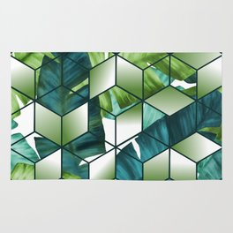 Tropical Cubic Effect Banana Leaves Design Rug