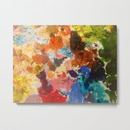 An artist's palette, all the colors of the rainbow, oil paint Metal Print