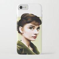 audrey hepburn iPhone & iPod Cases featuring Audrey Hepburn by Sophie Eves