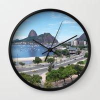 rio de janeiro Wall Clocks featuring Rio de Janeiro Landscape by Fernando Macedo