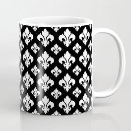 Fleur De Lis White on Black Coffee Mug