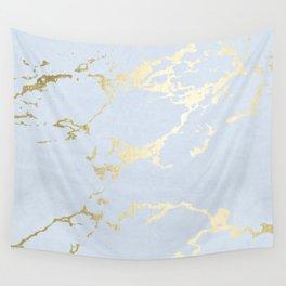 Kintsugi Ceramic Gold on Sky Blue Wall Tapestry
