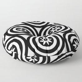 Black & White Circles Flowers Modern Floral Patterned Design Floor Pillow
