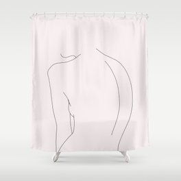 Woman's nude back line drawing illustration - Alex Natural Shower Curtain