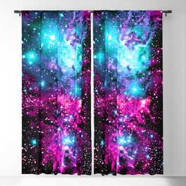 Fox Fur Nebula Hot Pink Turquoise Purple Blackout Curtain
