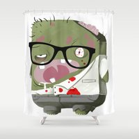zombie Shower Curtains featuring Zombie by Silver Larrosa