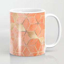 Soft Peach Gradient Cubes Kaffeebecher