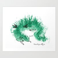 Green Dragon Sleeping Art Print