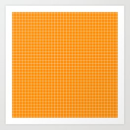 Orange Grid White Line Art Print