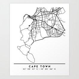 CAPE TOWN SOUTH AFRICA BLACK CITY STREET MAP ART Art Print