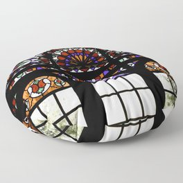 Colorful Rainbow Stain Glass Persian Window Art Floor Pillow