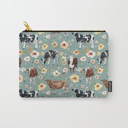 Cows and Flowers on Country Blue, Yellow Flowers, Cow Floral, Pink Flowers Carry-All Pouch