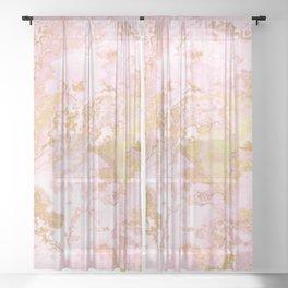 Rose Gold Metal Foil on Pink Marble  -  Summer Girl I Sheer Curtain