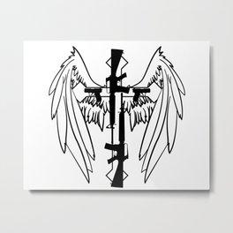 Gun Cross and Wings Metal Print