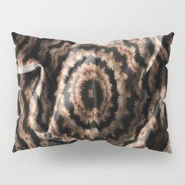 Kaleidoscope Beige Circular Fabric Texture Pattern on Black Pillow Sham