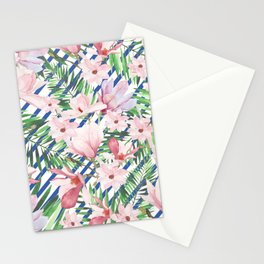Modern blue white stripes blush pink green watercolor floral Stationery Cards