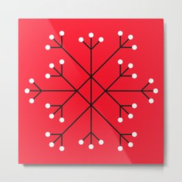 Mod Snowflake Dark Cherry Metal Print