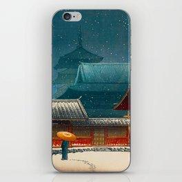 Vintage Japanese Woodblock Print Japanese Red Shinto Shrine Pagoda Winter Snow iPhone Skin