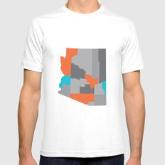 Arizona State Map Print MEDIUM White Mens Fitted Tee