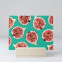 big Figs Pattern turquoise Mini Art Print