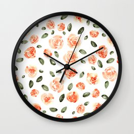 Peach Roses with Olive Leaves // Hand Painted Watercolor Flowers // Peach Roses with Green Leaves Wall Clock