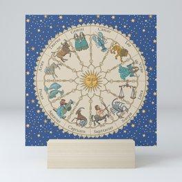 Vintage Astrology Zodiac Wheel Mini Art Print