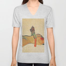 Egon Schiele - Orange knuckles and nipples (new color edit) Unisex V-Neck