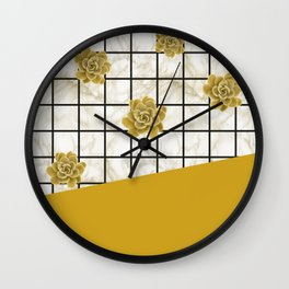 Succulents geometric composition - Yellow Lemon Curry Wall Clock
