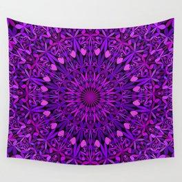 Purple Leaves Kaleidoscope Mandala Wall Tapestry