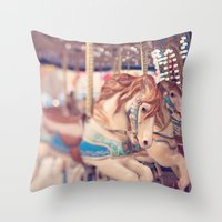 carousel Throw Pillows featuring Carousel by Laura Ruth