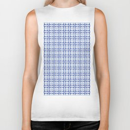 Squares and triangles pattern blue Biker Tank