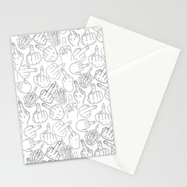 Middle Finger Party Black White Stationery Cards