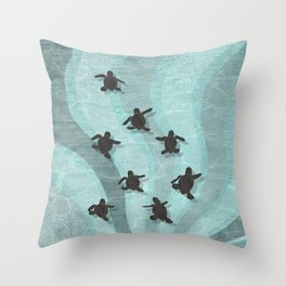 Loggerhead sea turtle hatchlings Throw Pillow