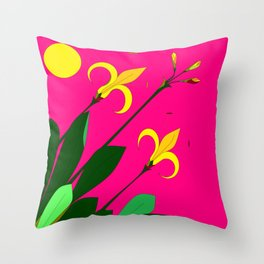 Yellow Lilies with the Sun in the Pink Sky Throw Pillow