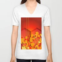 hexagon V-neck T-shirts featuring Hexagon Layers by Robin Curtiss