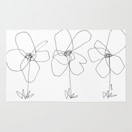 Although It Was Easy When We Were Babies no.0 - black and white line art minimal flower illustration Rug