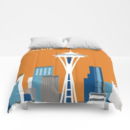 Seattle, Washington - Skyline Illustration by Loose Petals Comforters