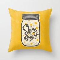 fireflies Throw Pillows featuring Fireflies by Landon Sheely