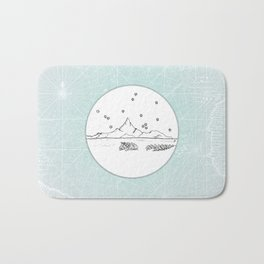 Bora Bora Island, French Polynesia Skyline Illustration Drawing Bath Mat