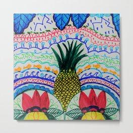 Tropical Dancers Zen Doodle Drawing Metal Print