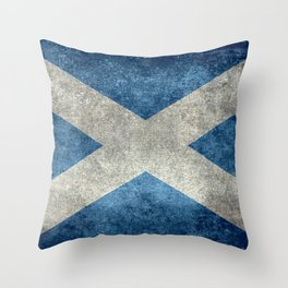 Scottish Flag - Vintage Retro Style Throw Pillow