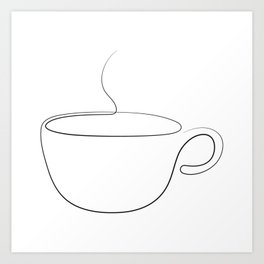 coffee or tea cup - line art Art Print