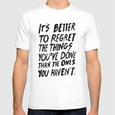 #NOREGRETS White Mens Fitted Tee MEDIUM