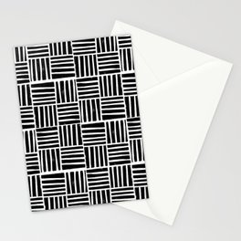 Linocut black and white minimal pattern stripes criss cross squares Stationery Cards