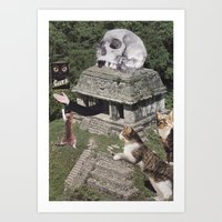 The Temple of Doom goes about feeding the neighborhood cats as per usual. Art Print